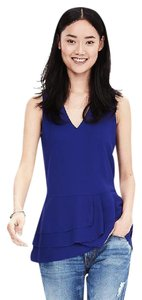 Banana Republic Ruffle Crepe Sleeveless V-neck Top Royal Violet