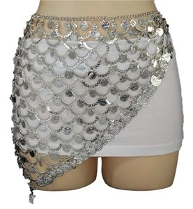 Other Ethnic Belly Dancer Coins Mini Skirt Silver