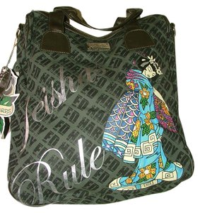 Ed Hardy Don Tattoo Asian Weekender Overnight Green Multi Travel Bag