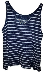 Lane Bryant Beaded Sparkle Striped Floral Lace Top navy