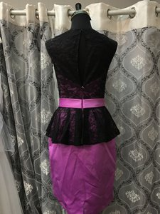 Allure Bridals Black/Wildberry Lace and Satin 1351 Bridesmaid/Mob Dress Size 8 (M)