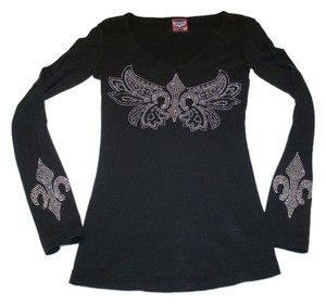 Avangard Long Sleeve Silver Studs Fleur-de-lis Saints T Shirt Black
