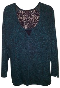 Lane Bryant Lace Marled Longsleeve Top green