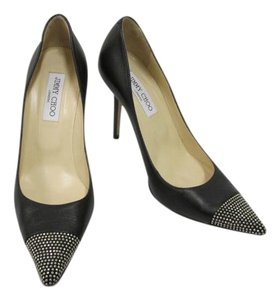 Jimmy Choo Leather Studded Pointed Toes Size 39.5/size 9 Black and Silver Pumps