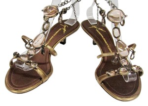 Giuseppe Zanotti Stones Leather Kitten Gold Sandals