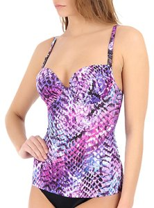 Profile NWT Profile by Gottex Tankini Top Snake Charmer purple 12 NEW