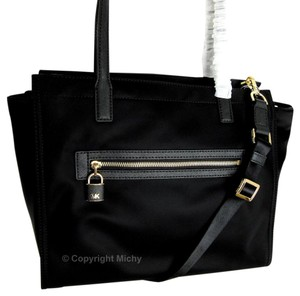 Michael Kors Ew Janie Large Leather Trim Strap Tote in Black