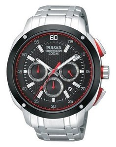 Pulsar PT3395 Black & Red Dial Stainless Steel Men Watch
