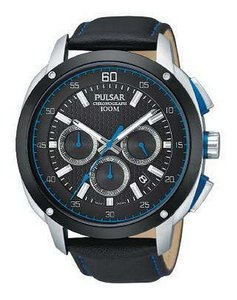 Pulsar PT3391 Black & Blue Dial Leather Men Watch