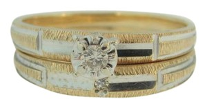 Other Antique Minor's Cut Double Diamond Band-14k Yellow Gold
