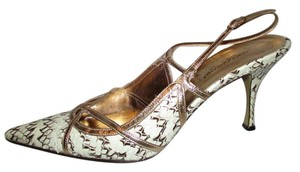 Dolce&Gabbana Leather Snakeskin gold, white & brown Pumps