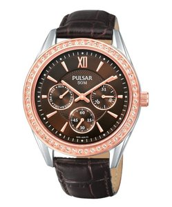 Pulsar PP6008 Multifunction Swarovski Crystals Brown Dial Womens watch