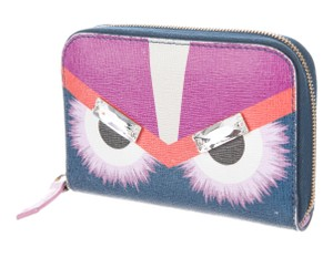 Fendi Blue, multicolor leather Fendi Monster Eyes compact wallet