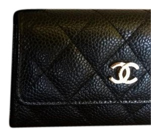Chanel Black Quilted Caviar O-Card Case Wallet Holder