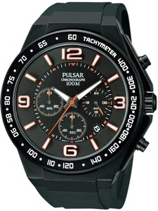 Pulsar PT3403 Mens Chronograph Stainless Watch Black Rubber Strap