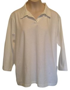 L.L.Bean 3/4 Sleeve Cotton Soft T Shirt White