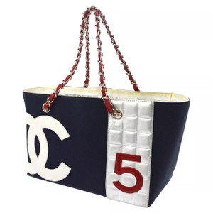 Chanel Tote in Navy Red White
