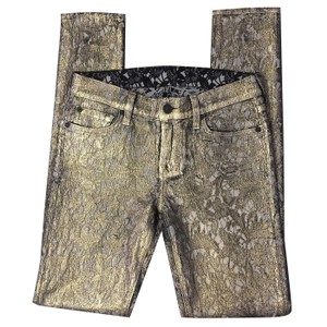 7 For All Mankind Metallic Stretchy Skinny Pants Gold