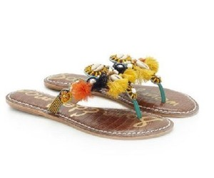 Sam Edelman Tassels Beaded Slide Turquoise/Yellow Sandals