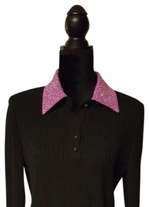 St. John Button Down Shirt Black and Fuschia