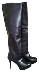 Stuart Weitzman Over-the Knee Black Leather Platform Slouchy Black Nappa Boots
