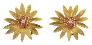 Other Vintage Pink Sapphire And Pearl Daisy Stud Earrings- 10k Yellow Gold