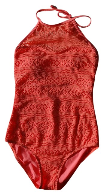 Item - Orange With Lace Removable Bra Pads One-piece Bathing Suit Size 6 (S)