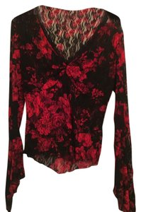 Cache Lace Top red and black