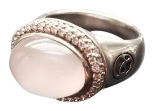 David Yurman David Yurman rose quartz signature oval diamond sterling silver ring