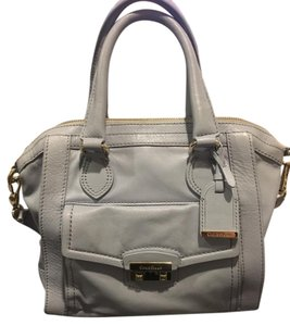 Cole Haan Silver Hardware Leather Satchel in Light Blue (Periwinkle)