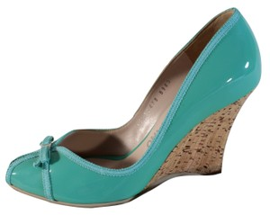 Salvatore Ferragamo Patent Leather Wedge Turquoise Blue Pumps