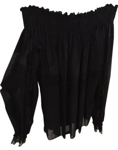 Yigal Azrouël Off Smock Sheer Top Black
