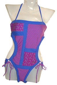 U.S. Polo Assn. US Polo Assn Blue Pink Grid Pattern Removable Bra Pads Size M