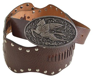 Etro Whip-Stitched Leather Silver Pegasus Buckle Stud Belt