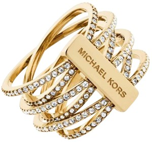 Michael Kors Nwt Size 9 Pave Spiral Coil Criss Cross Twist Gold Tone Ring