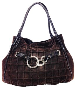 Donald J. Pliner Suede Croc-embossed Leather Quilted Silver Hardware Shoulder Bag