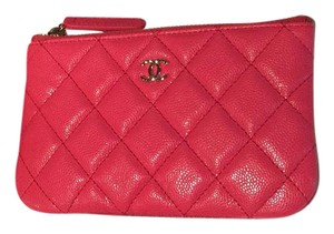 Chanel 17C dark pink caviar small o case pouch/card holder wallet