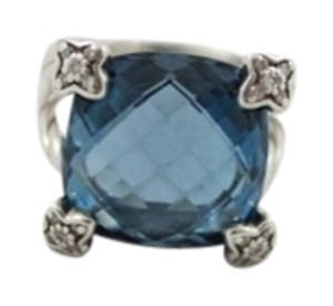 David Yurman David Yurman Blue Topaz, Diamond & Sterling Silver Ring