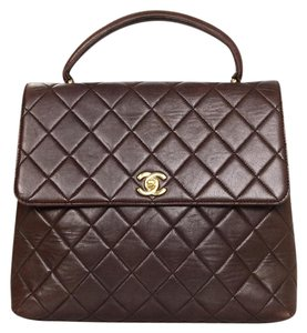 Chanel Vintage Quilted Top Tote in Brown