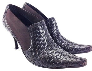 Donald J. Pliner Basket Weave Woven Toe Leather Brown Boots