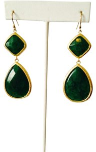 Neiman Marcus Dark Green Faceted Jade & Gold 2 Station Drop Earrings