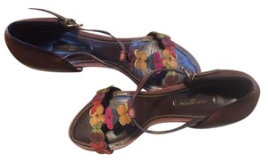 Louis Vuitton Multicolor Flowers Distressed Brown Sandals