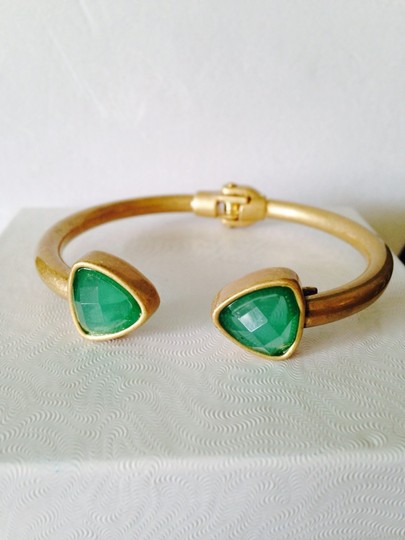 Neiman Marcus Faceted Green Crystal Hinged Bracelet