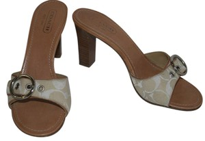 Coach High Heel Sandal Canvas Silver Hardware Off white and Tan Mules
