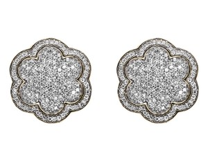 Other 14K Yellow Gold Genuine Diamonds Flower Cluster Earrings Studs 1.35ctw