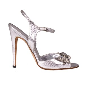 Manolo Blahnik Manolo Gem Silver Sandals