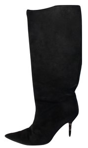 Gucci Suede Pointy Knee High Black Boots