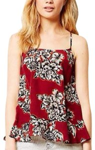 Mauve Silk Floral Cool Top Red black multi print