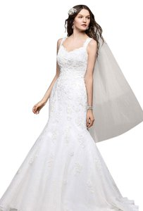 David's Bridal Off White Lace V3643 Destination Wedding Dress Size 10 (M)