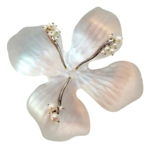 Alexis Bittar Lucite White Carved Flower Pin with Pearls 3.5